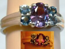COLOR CHANGE PURPLE ALEXANDRITE BLUE SAPPHIRE 925 STERLING SILVER RING SIZE 6.25