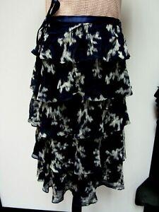 LAFAYETTE 148 NY Sheer Silk Blend Skirt Silver White Midnight Navy Black 8 M EUC