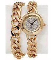 R.J.Graziano Pave Mineral Crystal Chain link Wrap Goldtone Bracelet Watch set