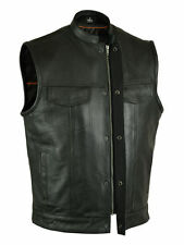 Mens SOA Leather Vest w Dual Inside Concealed Weapon Pockets w/ Seamless Back