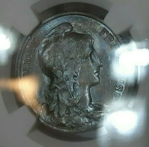 NGC France MS 64 1912  10 Centimes Bluish Patina Luster Unc Cents
