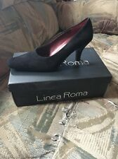 Linea Roma Black Suede Lilly Shoes w/ Architectural Heel 8M NEW in Box