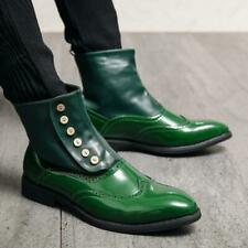 British Mens High Top Faux Leather Ankle Boots Shoes Shiny WIng Tip Business