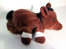 Horse Hand finger puppet plush brown white 10 inches