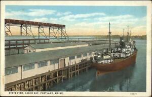Portland ME State Pier Casco Bay Ship c1920 Postcard