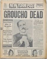 New York NY Post Hollywood Legend Groucho Marx Dies/Dead at 86 1977 Newspaper