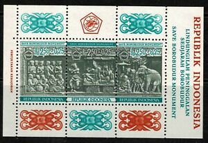 """Indonesia 1968 """"Save Borobudur Monument"""" Surtaxed Minisheet - MNH"""