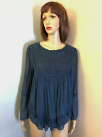 ALTARD STATE M Navy Blue Lined Mesh BOHO EMPIRE LAYERED TOP Crochet Lace Trim
