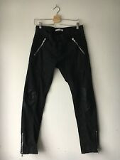 Pierre Balmain Denim Leather Biker Jeans Size 34/48