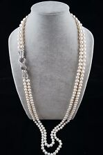 38/39 inches 8-9mm White Pearl Necklace with Ornament