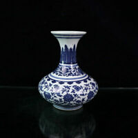 "6.6"" Chinese Blue and White Porcelain Twisted Branches Lotus Flowers Lines Vase"