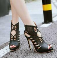 Women Peep Toe Stilettos Gladiator Slim High Heels Hollow Out Ankle Boots Shoes