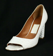 LANVIN Ete 2008 Optic White Python Skin Open-Toe Heels Pumps 38