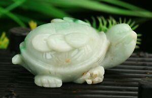Cert'd Green Natural Grade A Jade jadeite Sculpture Statue tortoise a28602261