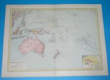 1878 XL RARE ORIGINAL MAP AUSTRALIA OCEANIA SYDNEY NEW ZEALAND GUAM HAWAII PAPUA