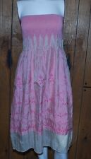 Lapis Dress Womens One Size Pink Strapless Elastic Top Floral Stretch O/S