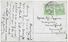 1916 FIUME Italian Colonies 2x5 filler Austrian stamp ship PPC->Camelford GB