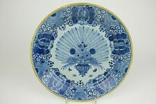 34,5 cm / 13,8 inch Large Old Delft Blue and White Wall Peacock Plate.