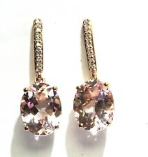 10k rose gold .05ct SI2 H diamond morganite dangle earrings 1.8g estate vintage