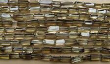 "Smokie Quartz beads Brick cut  Clear translucient 5x8mm 14"" strand Free shipping"