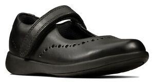 BNIB Clarks Girls Etch Craft Black Leather School Shoes