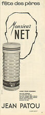 Publicité Advertising 1965  Parfum  Monsieur NET de JEAN PATOU pour homme