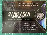 **NEW** EAGLEMOSS STAR TREK DISCOVERY NCC-1031 DEDICATION PLAQUE