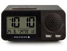 Precision Clear LCD Radio Controlled USB Dual Alarm Clock Ap055 Black