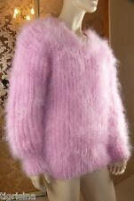 Mohair Hand Knitted Men's Fluffy Pink V-neck Pullover Jumper Sweater ,size  L