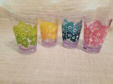 Vintage Marimetto Plastic Glasses Zak Design, Inc 4 Beautiful Flowered Glasses