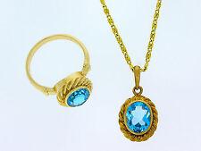 959-er3233 Goldkette + Ring mit Blauem Topasl Rg 58 KL 42 cm Gewicht 10,2 gramm