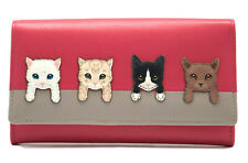 MALA Leather Cat Purse Cats On Wall Ladies Bi-Fold Coin Card Holder Pink Purses