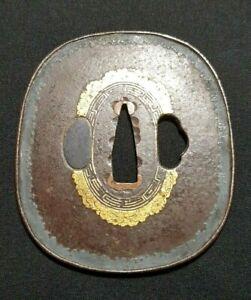 Original Katana nadegaku gata tsuba iron gold 18th century Edo Japan