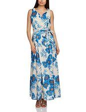 New UK10 GREAT PLAINS Riviera blue floral maxi 100% cotton maxi dress RRP £65