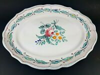 Cantagalli Firenze 15x11.5 Oval Serving Platter Plate Sky Blue Floral Italy RARE