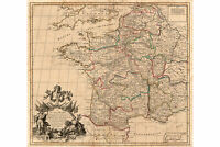 Map of France, 1719 by Senex; Antique Map; Custom Printed to Order