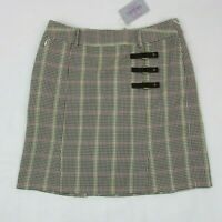 Tehama Nancy Haley Women's Golf Skort Gray Plaid Skirt with Shorts Size 6