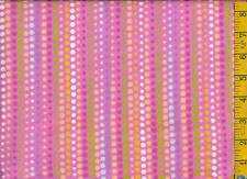 1 yard FLANNEL Pastel Rows of Dots on Hot Pink BTY