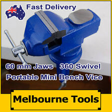 60mm Mini Bench Vice, Swivel Clamp Base Portable TABLE VICE with Anvil Cast Iron