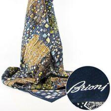 BRIONI Navy Yellow Spell Handmade Silk Scarf Shawl Fashion Headscarf