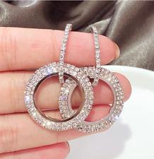 Fashion Luxury Round Earrings Women Crystal Hoop Glitter Stud Earrings Jewelry