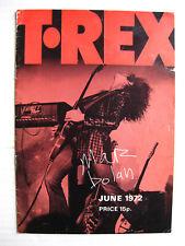 T-REX The Slider 1972 UK Tour CONCERT Program MARC BOLAN Mickey Finn QUIVER VG+