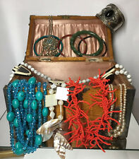 Dealers Lot Faux Pearls Seed Bead Vintage Costume Jewelry Necklace Cuff Bangles