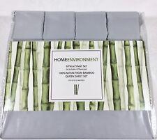 Gray QUEEN 6 PIECE Sheet Set 100% BAMBOO Silky Home Environment 4 Pillowcases