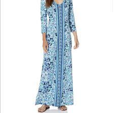 Lilly Pulitzer Anissa Maxi Dress Medium style 000694 Blue ($158 Retail)