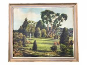 Large Vintage Landscape - Original 1977 Oil Painting on Board