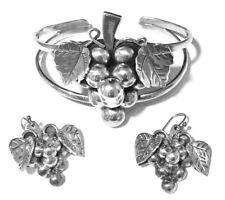 Grape Design Bracelet & Earrings Vintage Mexican 925 Sterling Silver
