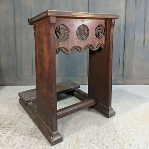 Carved Antique Heavy Oak Gothic Prayer Desk Prie Dieu from St George the Martyr
