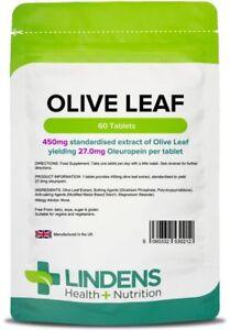 Olive Leaf 450mg (27mg Oleuropein) (60 Tablets) Polyphenols Immune System