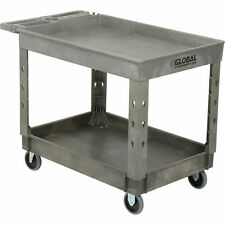 Plastic 2 Tray Shelf Service Amp Utility Cart 44 X 25 12 5 Rubber Casters